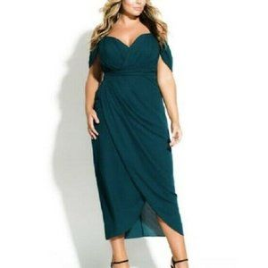 City Chic XL/22 Emerald Green Maxi Dress NWT AE30